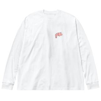 えびくん Big silhouette long sleeve T-shirts