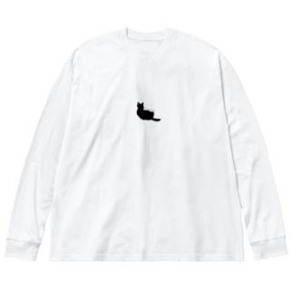 黒猫ロンT Big silhouette long sleeve T-shirts