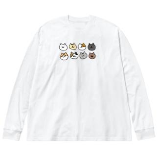 いろんな猫 Big silhouette long sleeve T-shirts