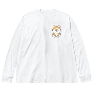 おすわり赤秋田犬 Big silhouette long sleeve T-shirts