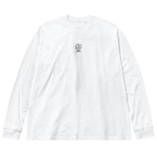 おんまゆくん Big silhouette long sleeve T-shirts