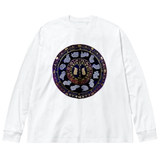 兎星座盤彩色 Big silhouette long sleeve T-shirts