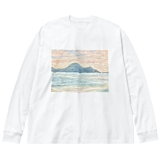 箕沖から仙酔島''' Big silhouette long sleeve T-shirts