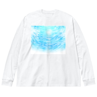 太陽と青空と海 Big silhouette long sleeve T-shirts