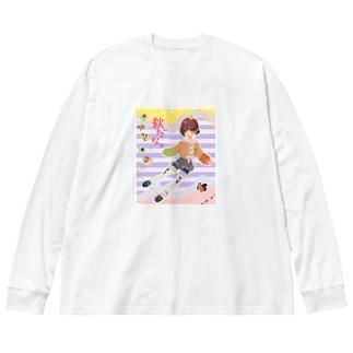 秋だなァ Big silhouette long sleeve T-shirts