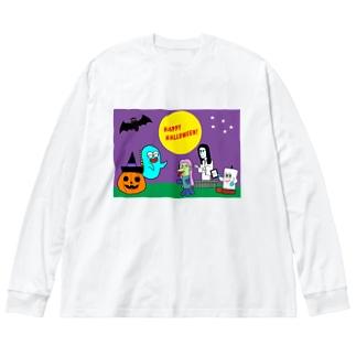 おばじゅうのハロウィン Big silhouette long sleeve T-shirts