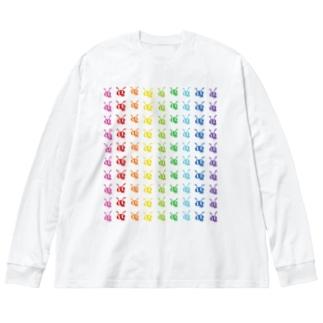 並んだありんこ、と🐜 Big silhouette long sleeve T-shirts