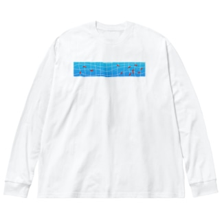 outciderの金魚プール Big silhouette long sleeve T-shirts