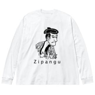 浮世絵 Big silhouette long sleeve T-shirts