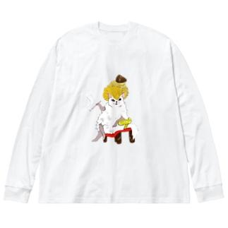 スイーツ猫 (モンブラン) Big silhouette long sleeve T-shirts