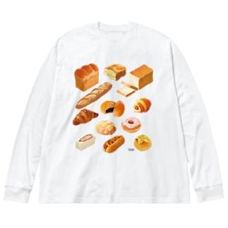ぱぱんがパン! Big silhouette long sleeve T-shirts