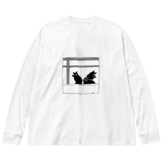 黒猫たち Big silhouette long sleeve T-shirts