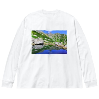 鏡面の槍ヶ岳 Big silhouette long sleeve T-shirts
