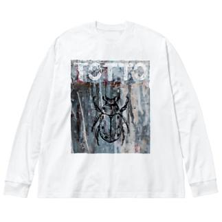 ペイントグラフィック/コガネムシ Big silhouette long sleeve T-shirts