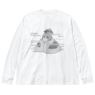 1周年モノクロビッグロンT Big silhouette long sleeve T-shirts