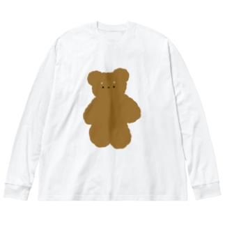 でっかいくま❕ Big silhouette long sleeve T-shirts