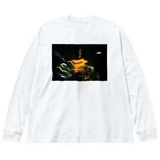 オシャレな五重の塔_前面 Big silhouette long sleeve T-shirts