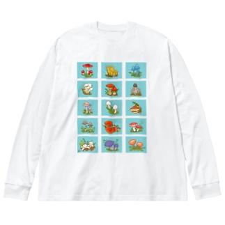 色々きのこ(前面プリント) Big silhouette long sleeve T-shirts