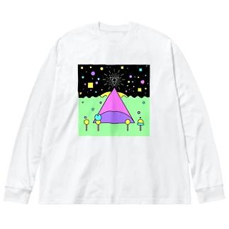 ぴこぴこ Big silhouette long sleeve T-shirts