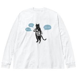 はたらくねこさん Big silhouette long sleeve T-shirts