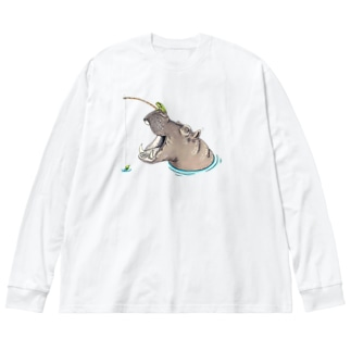 Leee_sanのカバと釣りカエル Big silhouette long sleeve T-shirts