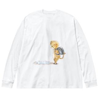 水溜まり猫 Big silhouette long sleeve T-shirts