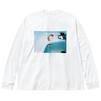 思い出 Big silhouette long sleeve T-shirts