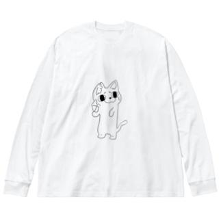 ねこちゃんスリーブ Big silhouette long sleeve T-shirts