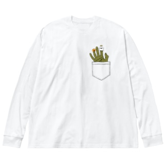 Finger puppets(ポケット) Big silhouette long sleeve T-shirts