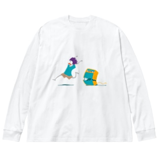 やの のすけのHelp! 文字無し Big silhouette long sleeve T-shirts
