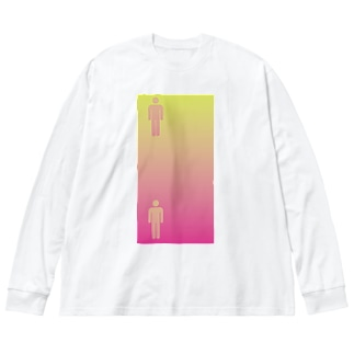 錯覚シリーズ vo.1 ピクトグラムは同じ色 Big silhouette long sleeve T-shirts