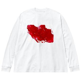 赤 Big silhouette long sleeve T-shirts