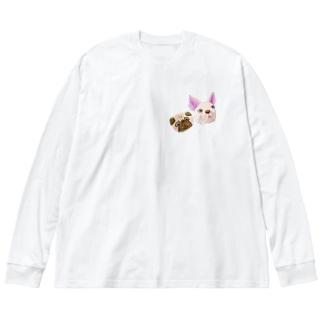 パグ&フレブル Big silhouette long sleeve T-shirts