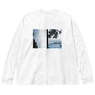 冬の海 Big silhouette long sleeve T-shirts