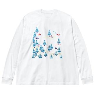 ねこさがし Big silhouette long sleeve T-shirts