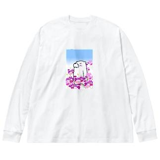 秋桜畑 Big silhouette long sleeve T-shirts