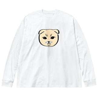 お猫様06 Big silhouette long sleeve T-shirts