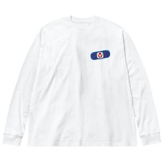 絆創膏いっぱいロンT Big silhouette long sleeve T-shirts
