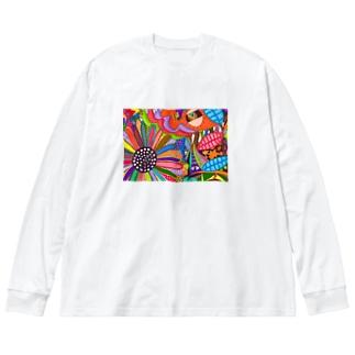 向日葵 Big silhouette long sleeve T-shirts