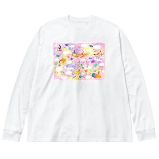 夢のながれ Big silhouette long sleeve T-shirts