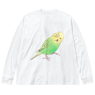 首傾げセキセイインコ ピーちゃん【まめるりはことり】 Big silhouette long sleeve T-shirts