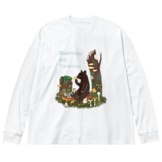 きのことクマ Big silhouette long sleeve T-shirts