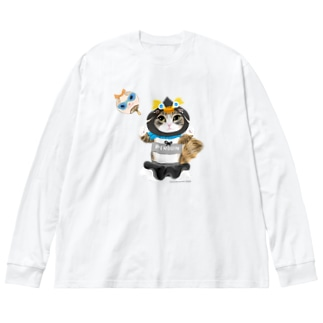 ペンギン隊ネネちゃん Big silhouette long sleeve T-shirts
