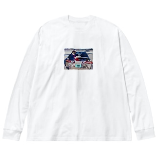 crushed car with a boy Big silhouette long sleeve T-shirts