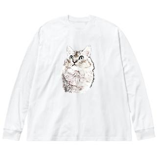 マロマロの何か用? Big silhouette long sleeve T-shirts