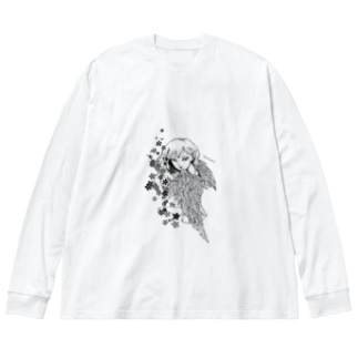 堕天使ちゃん2 Big silhouette long sleeve T-shirts