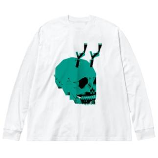 しゃれこうべ Big silhouette long sleeve T-shirts