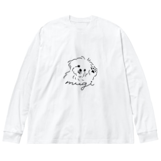 マルチーズのむぎ Big silhouette long sleeve T-shirts