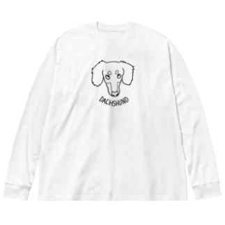 ダックス線タン Big silhouette long sleeve T-shirts
