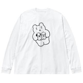 くまくもちゃん Big silhouette long sleeve T-shirts